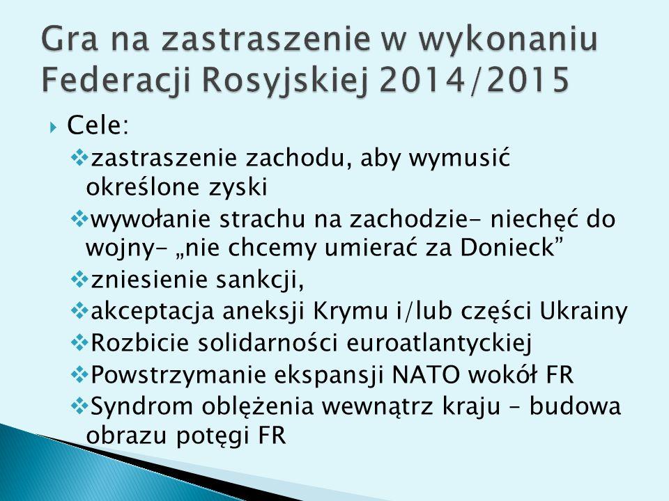 """ Cele:  zastraszenie zachodu, aby wymusić określone zyski  wywołanie strachu na zachodzie- niechęć do wojny- """"nie chcemy umierać za Donieck  zniesienie sankcji,  akceptacja aneksji Krymu i/lub części Ukrainy  Rozbicie solidarności euroatlantyckiej  Powstrzymanie ekspansji NATO wokół FR  Syndrom oblężenia wewnątrz kraju – budowa obrazu potęgi FR"""
