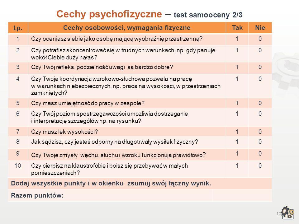 9 Cechy psychofizyczne Test samooceny 1/3 Decydując się na podjęcie pracy w zawodzie montera systemów rurociągowych, powinniśmy przede wszystkim wziąć