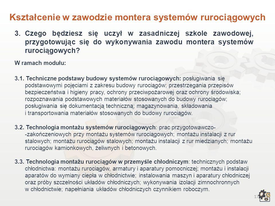 16 Kształcenie w zawodzie montera systemów rurociągowych 1.Aby pracować w zawodzie montera systemów rurociągowych, możesz: Rozpocząć naukę w dwuletnie