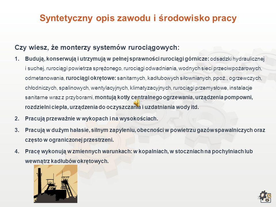 2 Multimedialna charakterystyka zawodu Nazwa zawodu: MONTER SYSTEMÓW RUROCIĄGOWYCH Kod zawodu w klasyfikacji szkolnictwa zawodowego: 713[04] Kod zawod