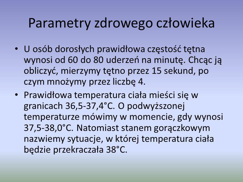 Parametry zdrowego człowieka U osób dorosłych prawidłowa częstość tętna wynosi od 60 do 80 uderzeń na minutę. Chcąc ją obliczyć, mierzymy tętno przez