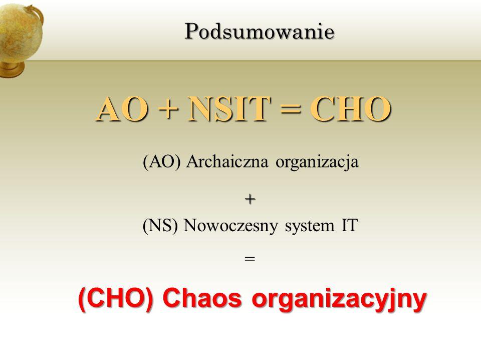 Podsumowanie (CHO) Chaos organizacyjny (AO) Archaiczna organizacja (NS) Nowoczesny system IT AO + NSIT = CHO + =