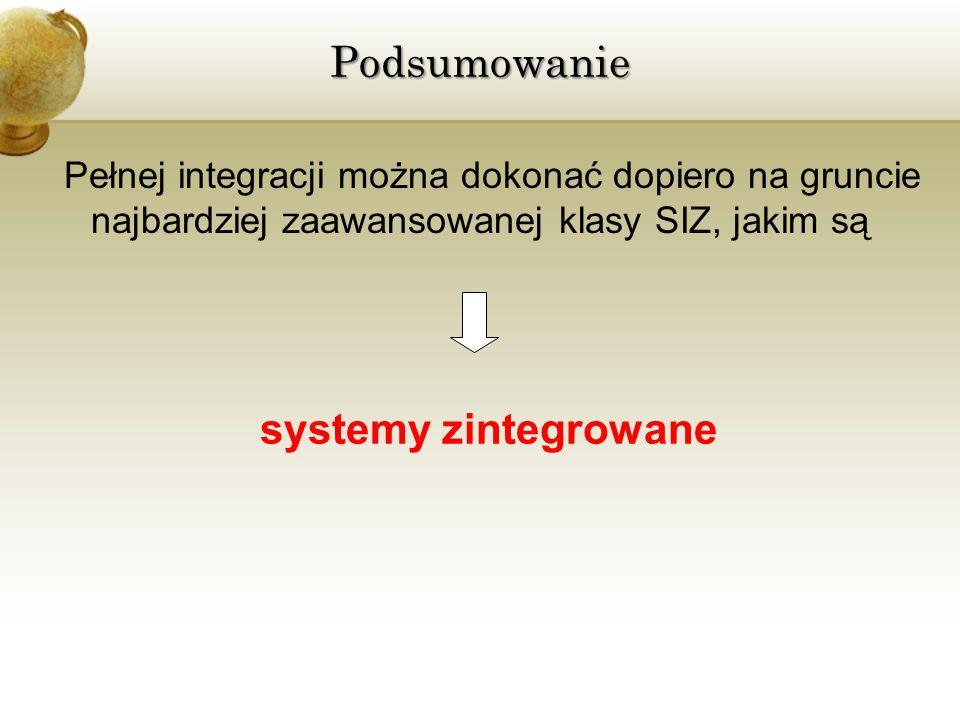 Pełnej integracji można dokonać dopiero na gruncie najbardziej zaawansowanej klasy SIZ, jakim są systemy zintegrowanePodsumowanie