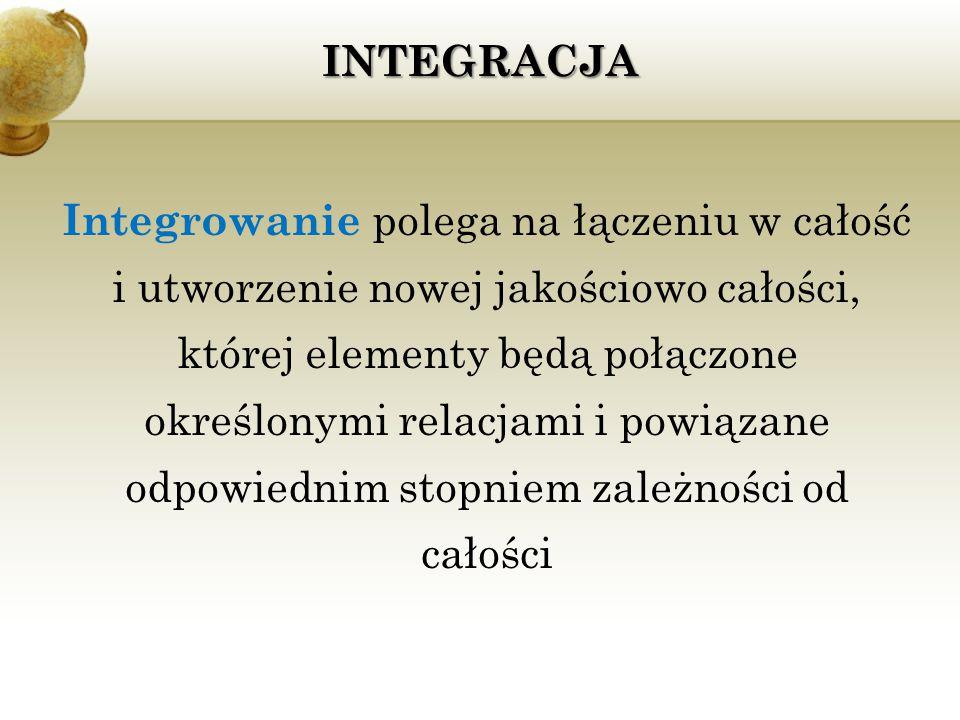 INTEGRACJA Integrowanie polega na łączeniu w całość i utworzenie nowej jakościowo całości, której elementy będą połączone określonymi relacjami i powi