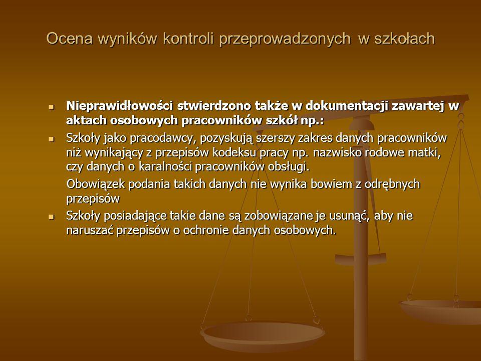 Ocena wyników kontroli przeprowadzonych w szkołach Nieprawidłowości stwierdzono także w dokumentacji zawartej w aktach osobowych pracowników szkół np.