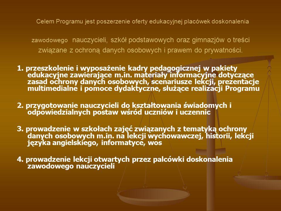 Celem Programu jest poszerzenie oferty edukacyjnej placówek doskonalenia zawodowego nauczycieli, szkół podstawowych oraz gimnazjów o treści związane z