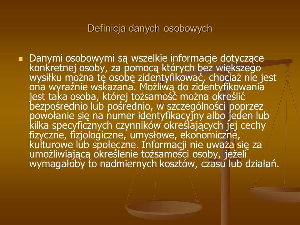Definicja danych osobowych Danymi osobowymi są wszelkie informacje dotyczące konkretnej osoby, za pomocą których bez większego wysiłku można tę osobę