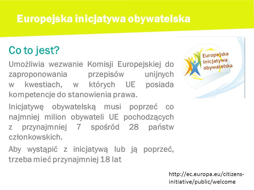Europejska inicjatywa obywatelska Co to jest.