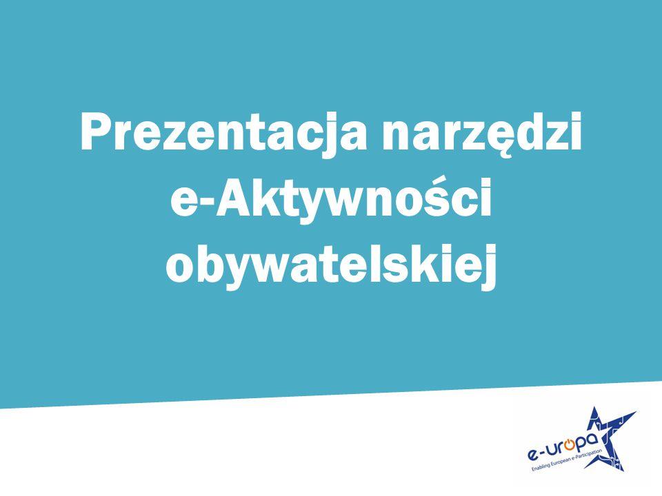 Prezentacja narzędzi e-Aktywności obywatelskiej
