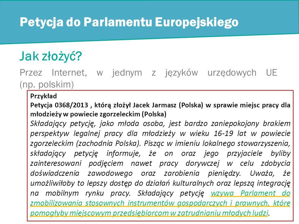 Petycja do Parlamentu Europejskiego Jak złożyć.