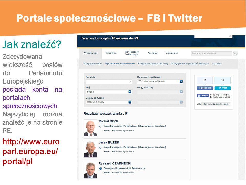 Portale społecznościowe – FB i Twitter Jak znaleźć.