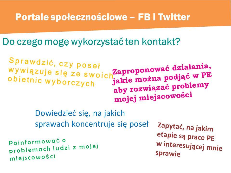 Portale społecznościowe – FB i Twitter Do czego mogę wykorzystać ten kontakt.