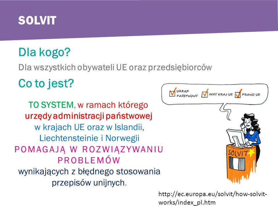 SOLVIT Dla kogo. Dla wszystkich obywateli UE oraz przedsiębiorców Co to jest.