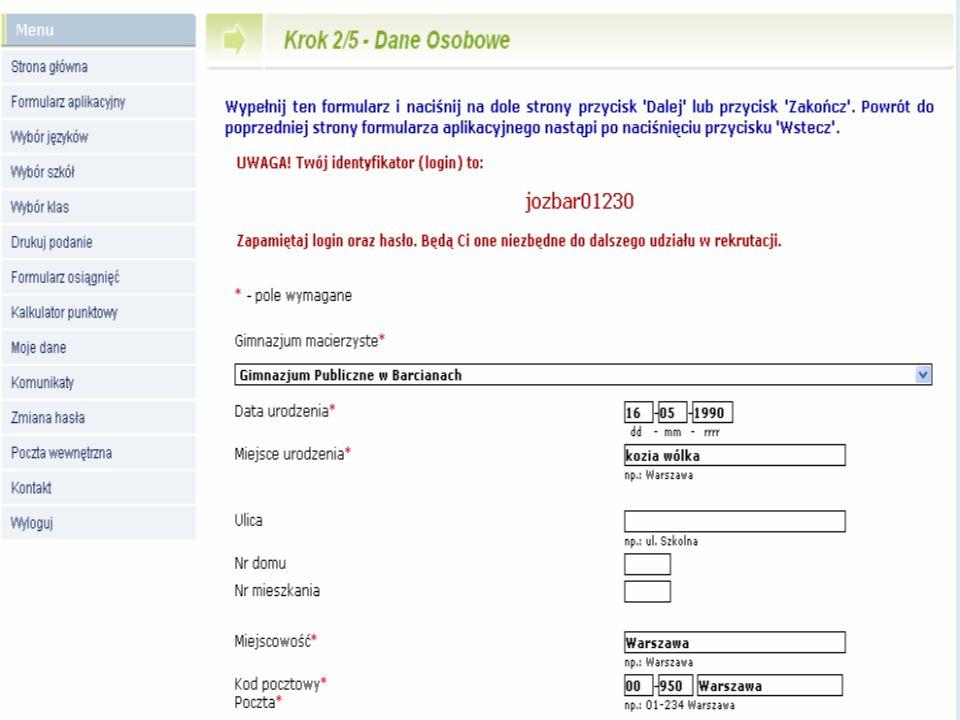Wersja dla kandydatów do szkół ponadgimnazjalnych, dla których konto w systemie zakłada gimnazjum Krok 2/5 Sprawdzenie szczegółowych danych osobowych i adresowych