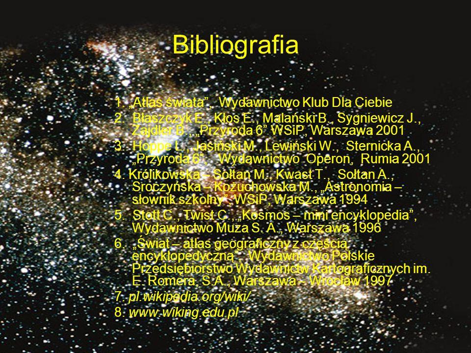 """Bibliografia 1.""""Atlas świata , Wydawnictwo Klub Dla Ciebie 2."""