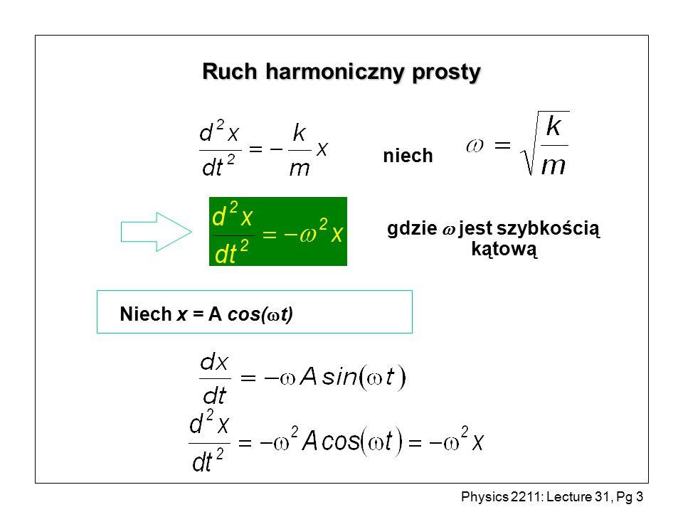 Physics 2211: Lecture 31, Pg 14 Sprężyna l -ky = ma = y k m F = -ky y = 0 y = A cos(  t +  ) gdzie
