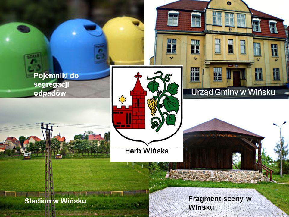 Urząd Gminy w Wińsku Stadion w Wińsku Fragment sceny w Wińsku Pojemniki do segregacji odpadów Herb Wińska
