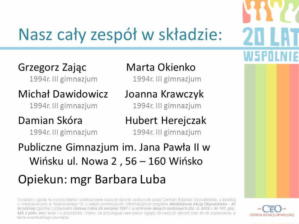 Grzegorz Zając Marta Okienko 1994r.III gimnazjum 1994r.