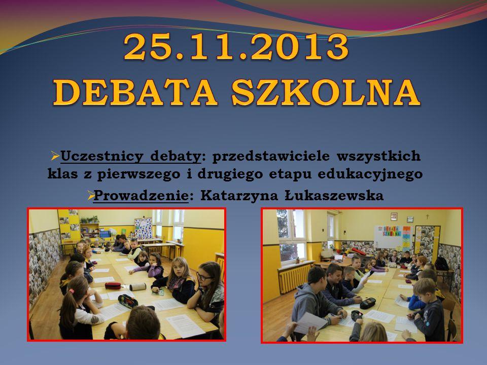  Uczestnicy debaty: przedstawiciele wszystkich klas z pierwszego i drugiego etapu edukacyjnego  Prowadzenie: Katarzyna Łukaszewska