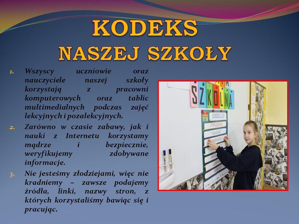 1. Wszyscy uczniowie oraz nauczyciele naszej szkoły korzystają z pracowni komputerowych oraz tablic multimedialnych podczas zajęć lekcyjnych i pozalek
