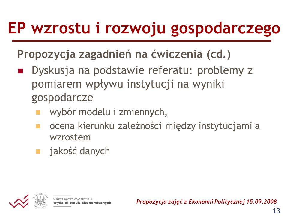 Propozycja zajęć z Ekonomii Politycznej 15.09.2008 13 EP wzrostu i rozwoju gospodarczego Propozycja zagadnień na ćwiczenia (cd.) Dyskusja na podstawie