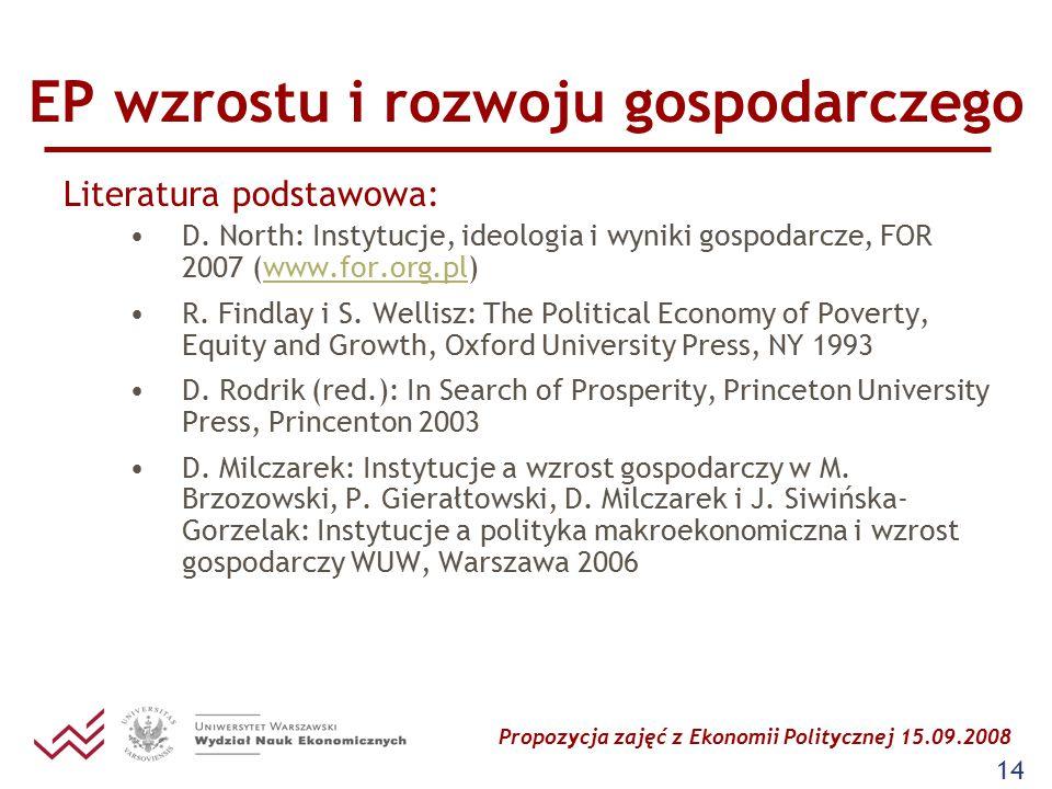 Propozycja zajęć z Ekonomii Politycznej 15.09.2008 14 EP wzrostu i rozwoju gospodarczego Literatura podstawowa: D. North: Instytucje, ideologia i wyni
