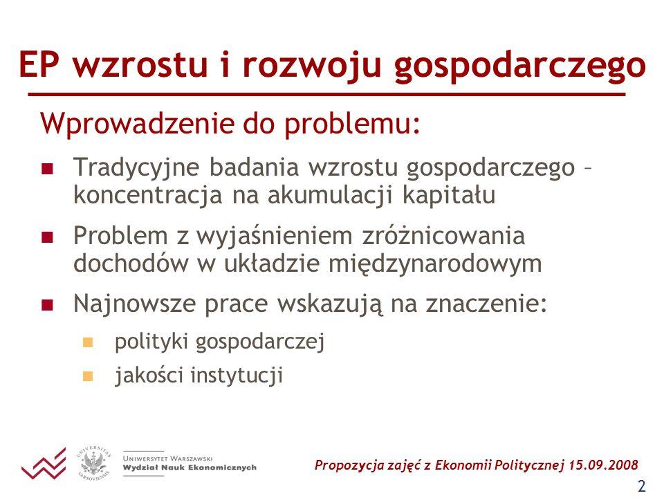 Propozycja zajęć z Ekonomii Politycznej 15.09.2008 2 EP wzrostu i rozwoju gospodarczego Wprowadzenie do problemu: Tradycyjne badania wzrostu gospodarc