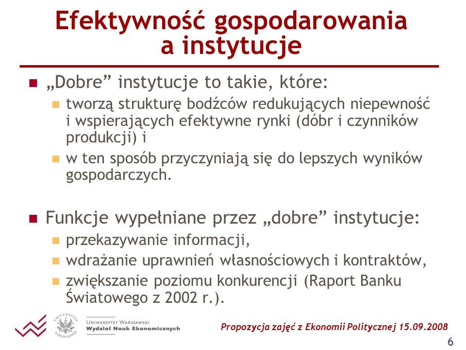"""Propozycja zajęć z Ekonomii Politycznej 15.09.2008 6 Efektywność gospodarowania a instytucje """"Dobre"""" instytucje to takie, które: tworzą strukturę bodź"""