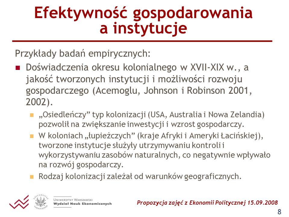 Propozycja zajęć z Ekonomii Politycznej 15.09.2008 9 EP wzrostu i rozwoju gospodarczego zmienne instytucjonalne w badaniach empirycznych dotyczących wzrostu gospodarczego (Aron 2000) miary jakości instytucji (m.in.: zabezpieczenie umów i uprawnień własnościowych); miary jakości kapitału społecznego (m.in.: miara wolności obywatelskich); charakterystyki społeczne (m.in.: zróżnicowanie etniczne, napięcia narodowościowe); charakterystyki polityczne (m.in.: typ i trwanie reżimu politycznego); miary politycznej niestabilności.