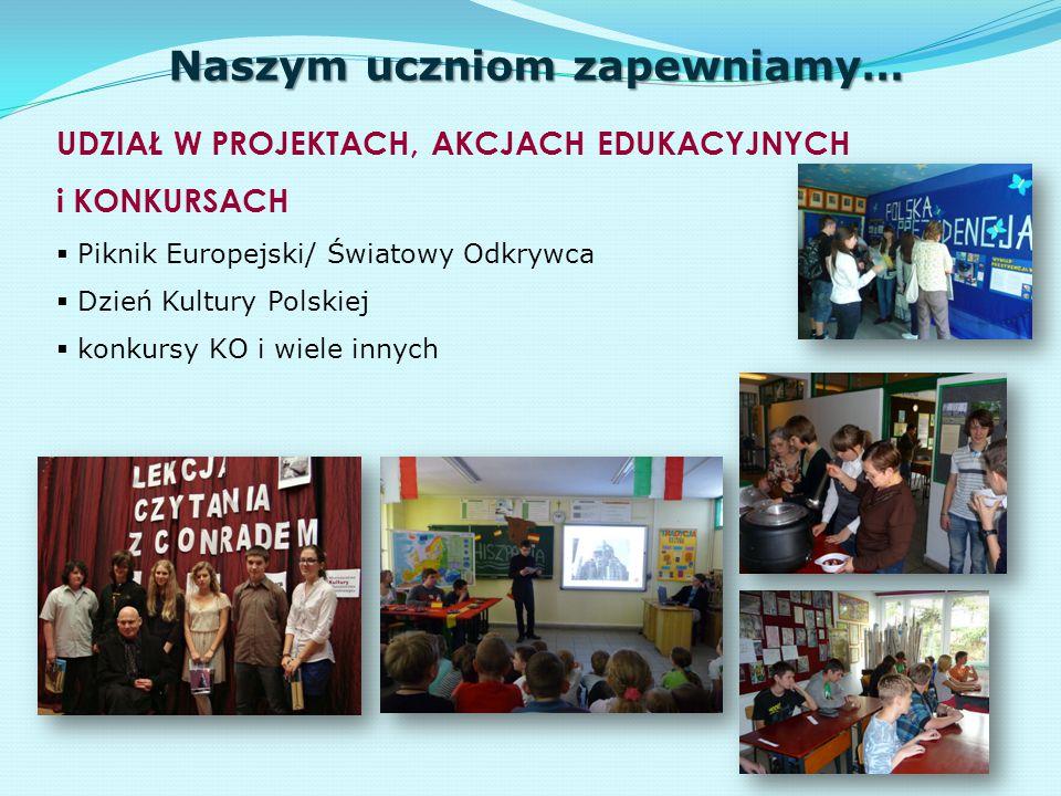 Naszym uczniom zapewniamy… UDZIAŁ W PROJEKTACH, AKCJACH EDUKACYJNYCH i KONKURSACH  Piknik Europejski/ Światowy Odkrywca  Dzień Kultury Polskiej  ko