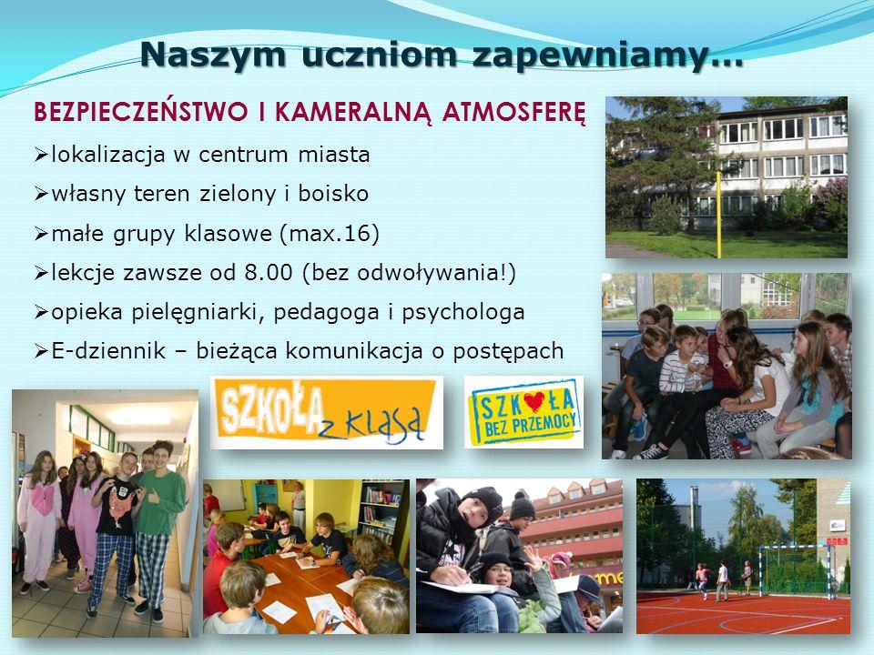 Naszym uczniom zapewniamy… BEZPIECZEŃSTWO I KAMERALNĄ ATMOSFERĘ  lokalizacja w centrum miasta  własny teren zielony i boisko  małe grupy klasowe (m