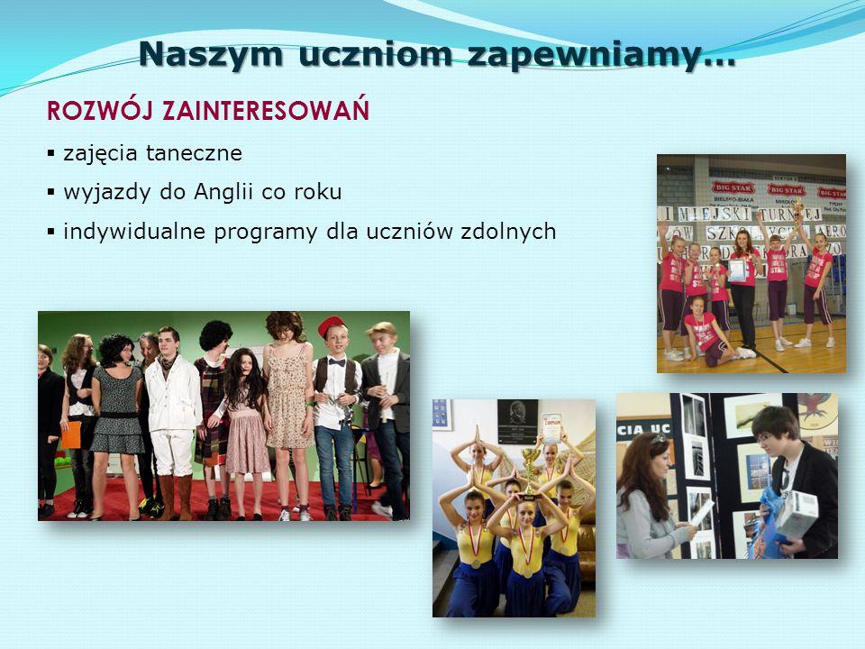 Naszym uczniom zapewniamy… UDZIAŁ W PROJEKTACH, AKCJACH EDUKACYJNYCH i KONKURSACH  Piknik Europejski/ Światowy Odkrywca  Dzień Kultury Polskiej  konkursy KO i wiele innych