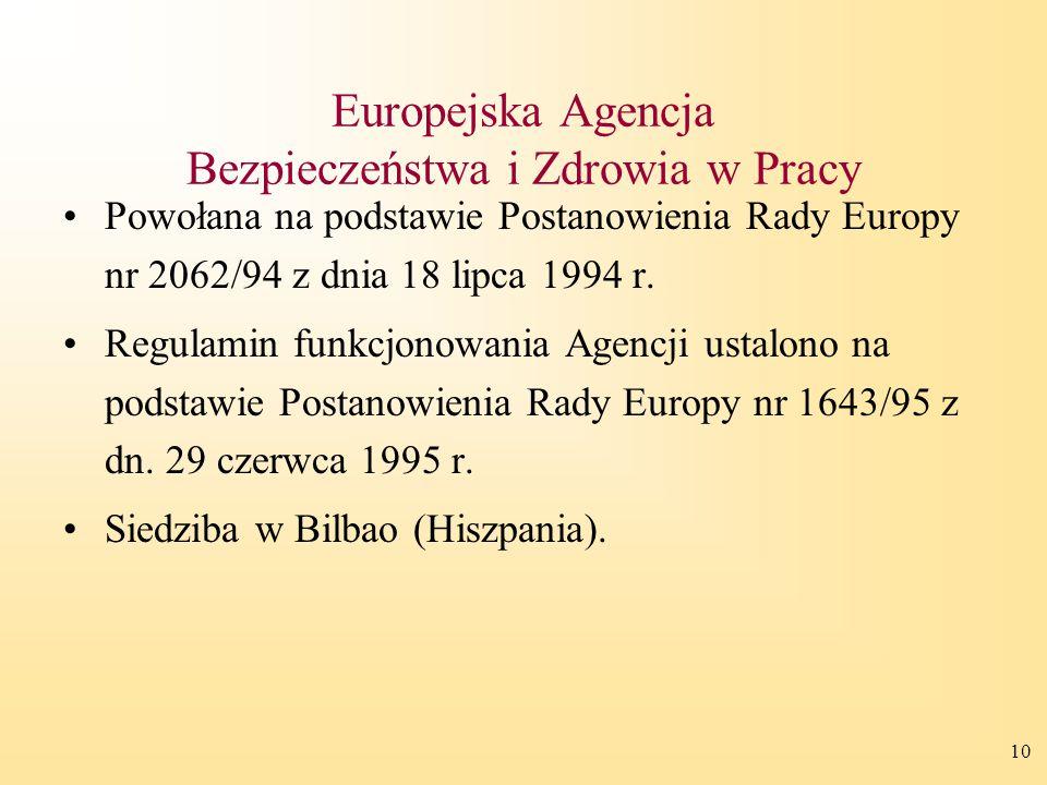 10 Europejska Agencja Bezpieczeństwa i Zdrowia w Pracy Powołana na podstawie Postanowienia Rady Europy nr 2062/94 z dnia 18 lipca 1994 r.