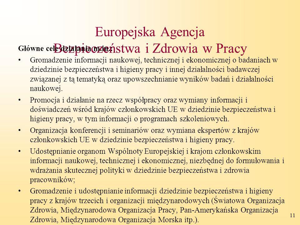 11 Europejska Agencja Bezpieczeństwa i Zdrowia w Pracy Główne cele działania m.in.: Gromadzenie informacji naukowej, technicznej i ekonomicznej o bada