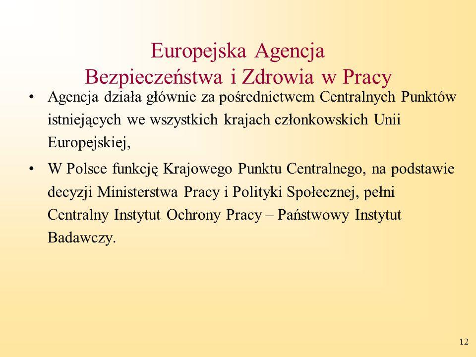 12 Europejska Agencja Bezpieczeństwa i Zdrowia w Pracy Agencja działa głównie za pośrednictwem Centralnych Punktów istniejących we wszystkich krajach członkowskich Unii Europejskiej, W Polsce funkcję Krajowego Punktu Centralnego, na podstawie decyzji Ministerstwa Pracy i Polityki Społecznej, pełni Centralny Instytut Ochrony Pracy – Państwowy Instytut Badawczy.