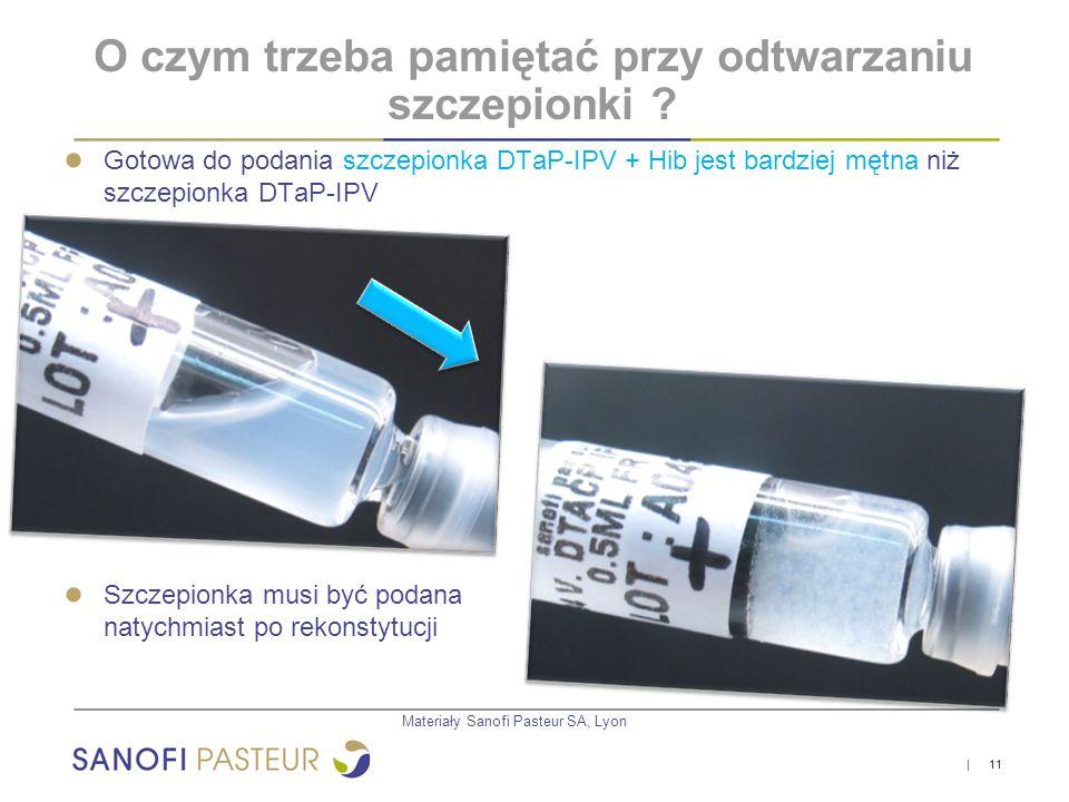   11 ● Gotowa do podania szczepionka DTaP-IPV + Hib jest bardziej mętna niż szczepionka DTaP-IPV ● Szczepionka musi być podana natychmiast po rekonsty