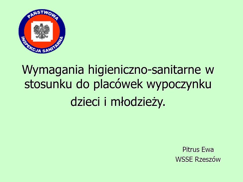 Wymagania higieniczno-sanitarne w stosunku do placówek wypoczynku dzieci i młodzieży. Pitrus Ewa Pitrus Ewa WSSE Rzeszów WSSE Rzeszów