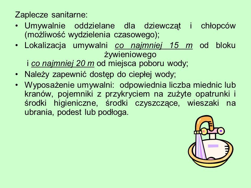 Zaplecze sanitarne: Umywalnie oddzielane dla dziewcząt i chłopców (możliwość wydzielenia czasowego); Lokalizacja umywalni co najmniej 15 m od bloku ży