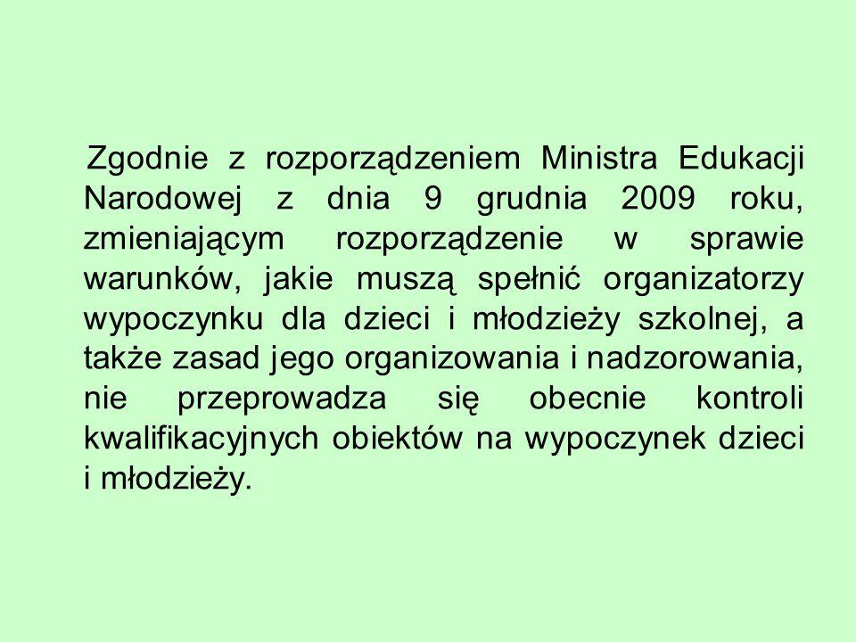 Zgodnie z rozporządzeniem Ministra Edukacji Narodowej z dnia 9 grudnia 2009 roku, zmieniającym rozporządzenie w sprawie warunków, jakie muszą spełnić