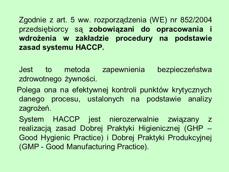 Zgodnie z art. 5 ww. rozporządzenia (WE) nr 852/2004 przedsiębiorcy są zobowiązani do opracowania i wdrożenia w zakładzie procedury na podstawie zasad