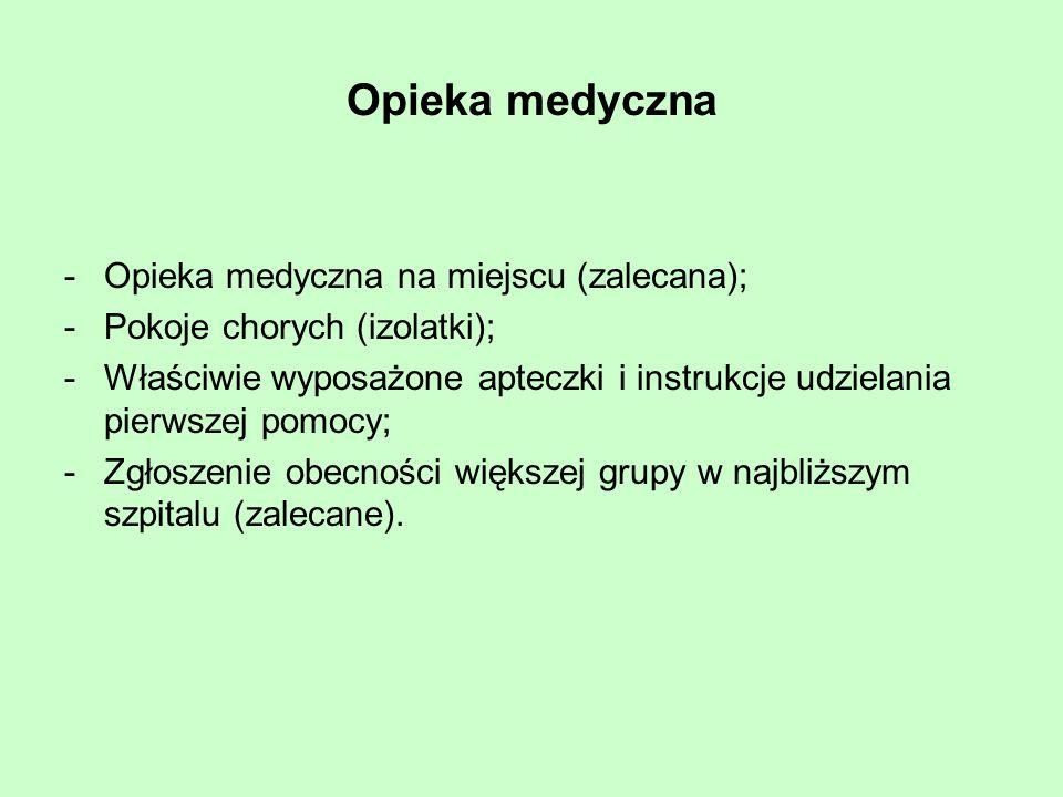 Opieka medyczna -Opieka medyczna na miejscu (zalecana); -Pokoje chorych (izolatki); -Właściwie wyposażone apteczki i instrukcje udzielania pierwszej p