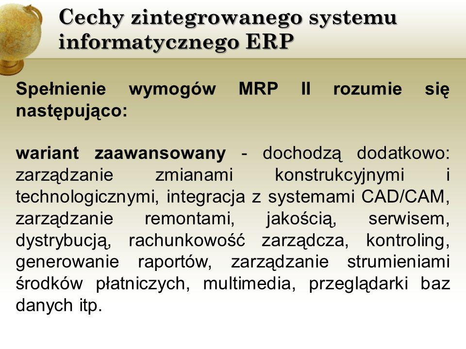 Cechy zintegrowanego systemu informatycznego ERP Spełnienie wymogów MRP II rozumie się następująco: wariant zaawansowany - dochodzą dodatkowo: zarządz