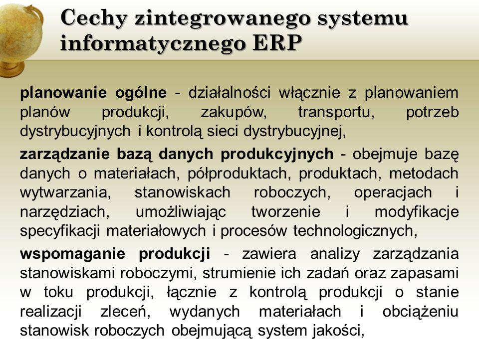 Cechy zintegrowanego systemu informatycznego ERP planowanie ogólne - działalności włącznie z planowaniem planów produkcji, zakupów, transportu, potrze