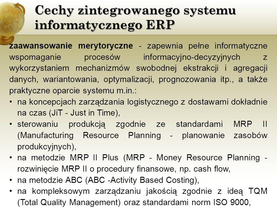 Cechy zintegrowanego systemu informatycznego ERP Spełnienie wymogów MRP II rozumie się następująco: wariant rozwinięty - dochodzą dodatkowo: moduły harmonogramowania spływu produkcji, zarządzanie stanowiskiem roboczym, planowanie zasobów dystrybucyjnych, zarządzanie pomocami warsztatowymi, moduły pomiaru i symulacji,