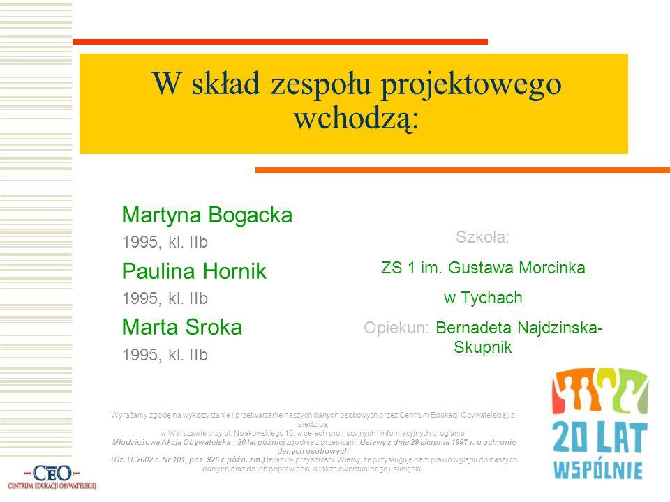 W skład zespołu projektowego wchodzą: Martyna Bogacka 1995, kl.