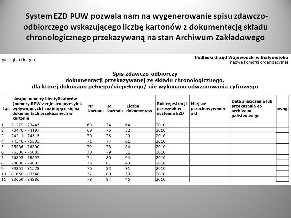 System EZD PUW pozwala nam na wygenerowanie spisu zdawczo- odbiorczego wskazującego liczbę kartonów z dokumentacją składu chronologicznego przekazywan