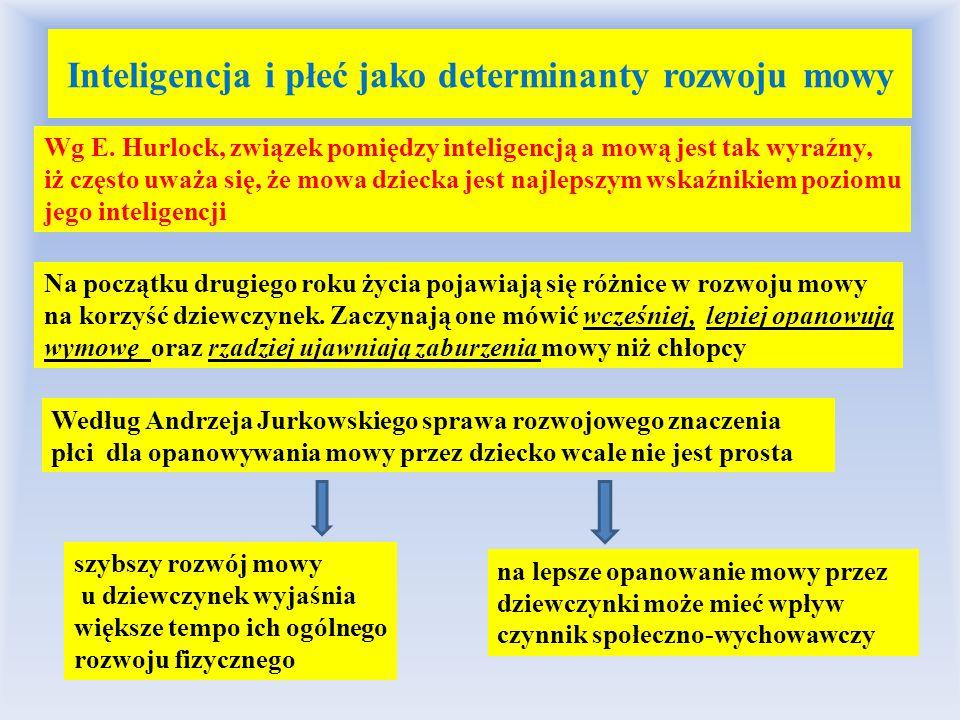 Inteligencja i płeć jako determinanty rozwoju mowy Wg E. Hurlock, związek pomiędzy inteligencją a mową jest tak wyraźny, iż często uważa się, że mowa