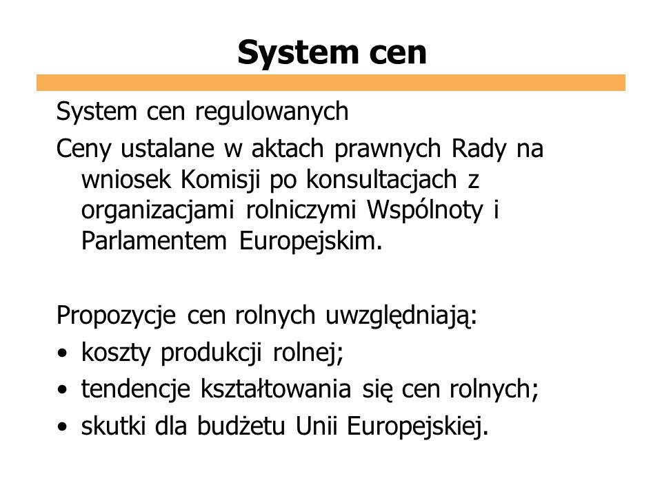 System cen System cen regulowanych Ceny ustalane w aktach prawnych Rady na wniosek Komisji po konsultacjach z organizacjami rolniczymi Wspólnoty i Par