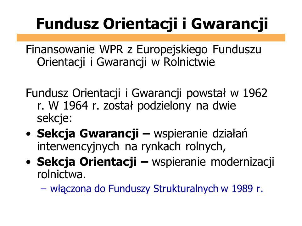 Fundusz Orientacji i Gwarancji Finansowanie WPR z Europejskiego Funduszu Orientacji i Gwarancji w Rolnictwie Fundusz Orientacji i Gwarancji powstał w