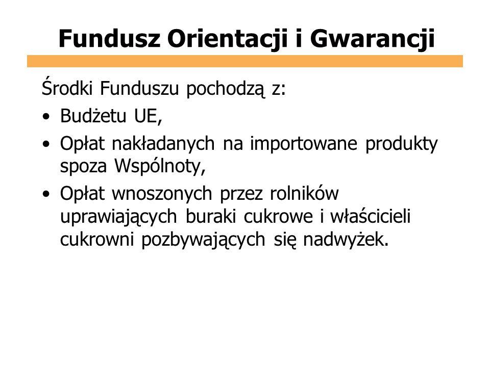 Fundusz Orientacji i Gwarancji Środki Funduszu pochodzą z: Budżetu UE, Opłat nakładanych na importowane produkty spoza Wspólnoty, Opłat wnoszonych prz